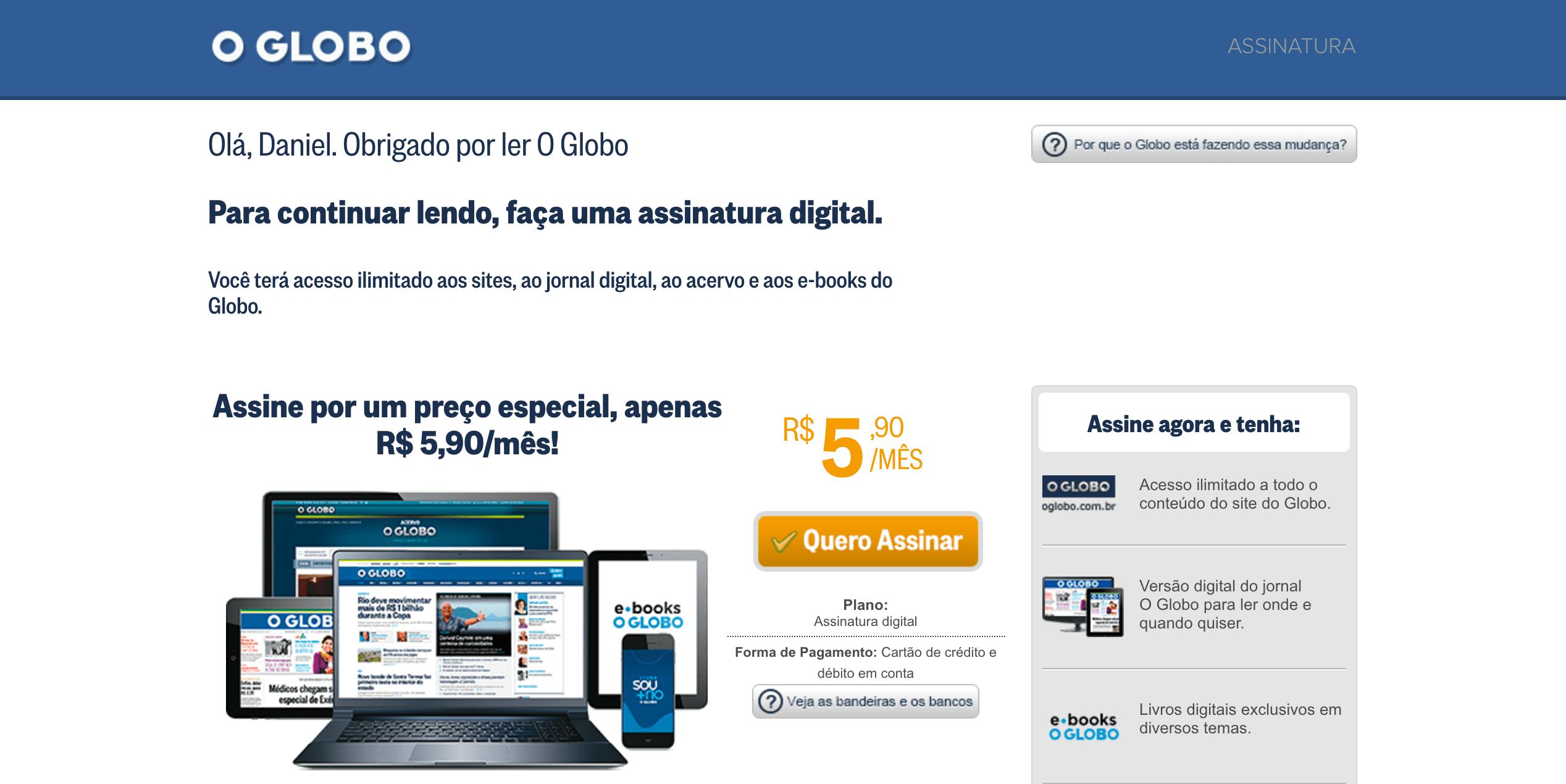 Paywall O Globo Online