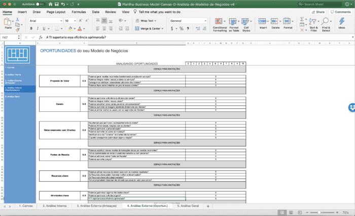 Planilha de Business Model Canvas