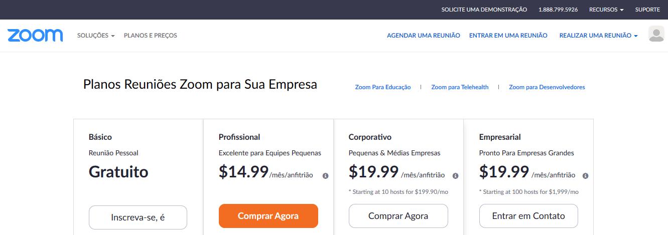 Modelo de Negócio do Zoom.us - Planos e Preços