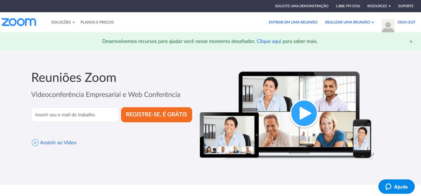 Modelo de Negócio do Zoom.us - Homepage